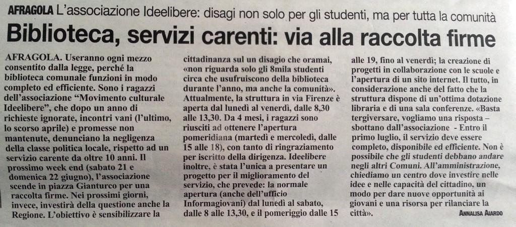 """Articolo il """"ROMA"""" 13/06/2014"""