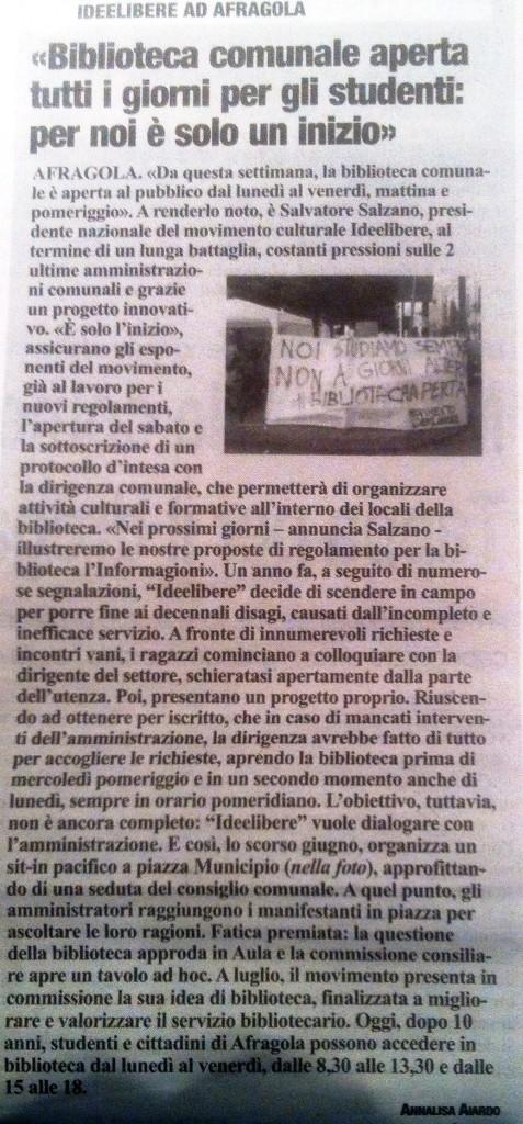 """Articolo il """"Roma"""" - 5/09/2014"""