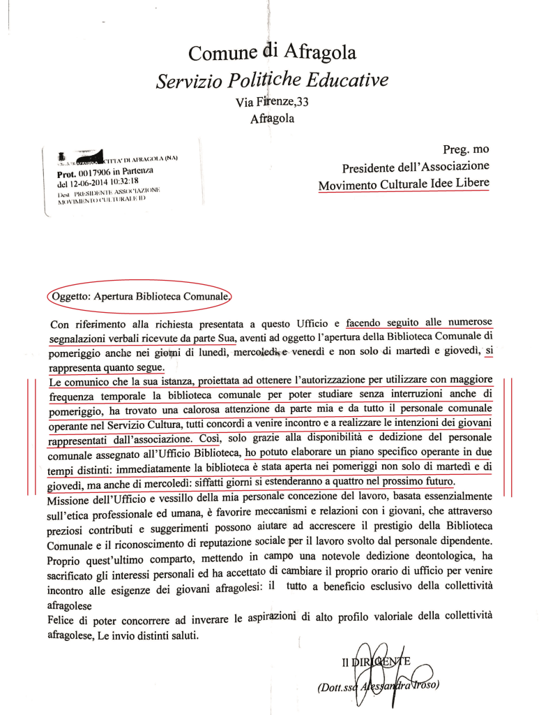 """Lettera della dirigente del """"Servizio Politiche sociali, culturali e produttive"""""""