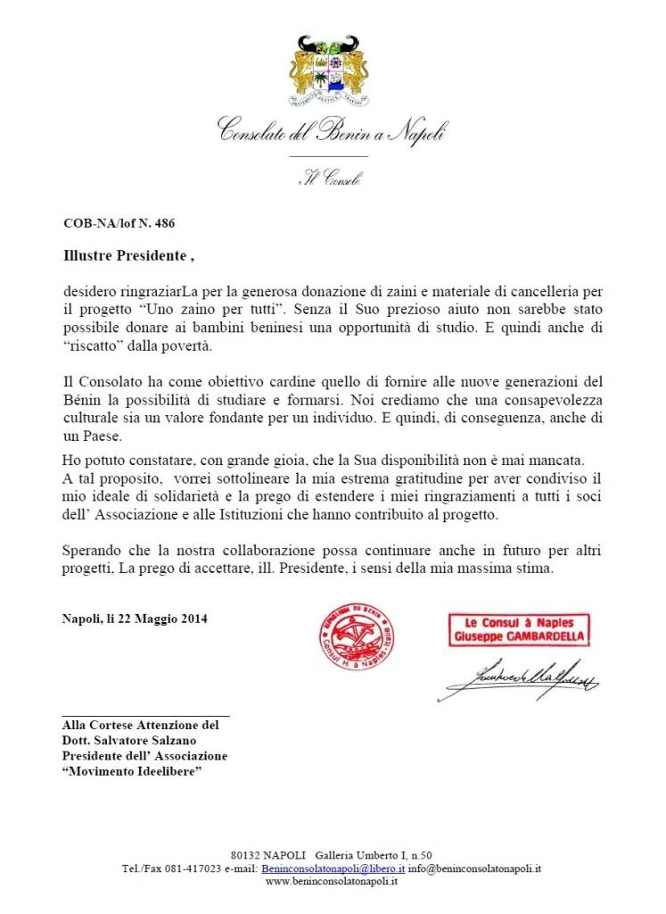 Lettera di ringraziamento per la donazione effettuata dal Movimento Culturale Ideelibere