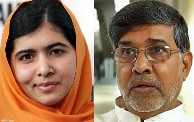 Nella foto appaiono a sinistra Malala Yousafzai e a destra Kailash Satyarthi.