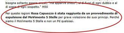 Estratto del comunicato comparso sul blog di Beppe Grillo