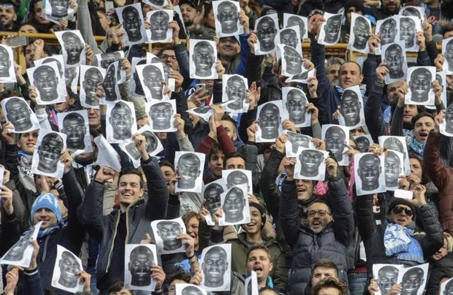 Stadio S.Paolo - Napoli (7.02.2016) Manifestazione di solidarietà a K.Koulibaly da parte dei tifosi del Napoli dopo i cori razzisti dell'Olimpico.